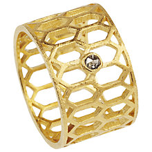 Buy Auren 22ct Gold Vermeil Diamond Hexagon Cut-Out Ring Online at johnlewis.com
