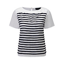Buy Viyella Striped Linen Top, White Online at johnlewis.com