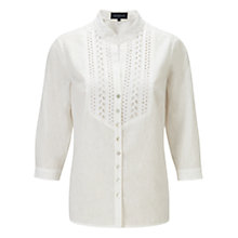 Buy Viyella Embroidered Bib Linen Shirt, White Online at johnlewis.com