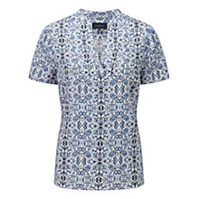 Buy Viyella Printed Linen Blouse, White Online at johnlewis.com