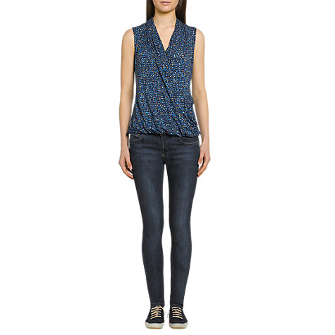 Buy Jigsaw Print Wrap Top, Blue Online at johnlewis.com
