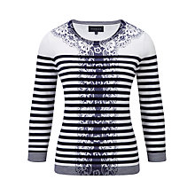 Buy Viyella Floral Stripe Cotton Jumper, White Online at johnlewis.com