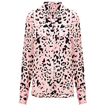 Buy Whistles Silk Brushed Fur Blouse, Multi Pink Online at johnlewis.com