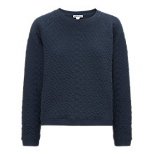Buy Whistles Quilted Cable Sweatshirt, Blue Online at johnlewis.com
