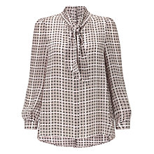 Buy Somerset by Alice Temperley Puppytooth Bell Sleeve Silk Blouse, Blush Multi Online at johnlewis.com