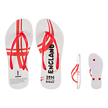Buy FIFA World Cup 2014 England Women's Flip Flops, White/Red Online at johnlewis.com