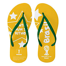 Buy FIFA World Cup 2014 Brazil Women's Flip Flops, Yellow/Green Online at johnlewis.com