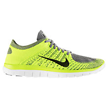 Buy Nike Free Men's 4.0 Flyknit Running Shoes, Yellow/Grey Online at johnlewis.com
