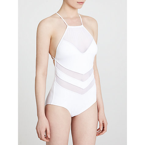 Buy Seafolly Goddess High Neck Maillot Swimsuit, White Online at johnlewis.com
