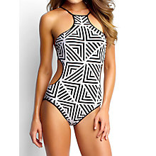 Buy Seafolly Pop High Neck Maillot Swimsuit, Black / White Online at johnlewis.com
