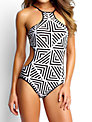 Seafolly Pop High Neck Maillot Swimsuit, Black / White