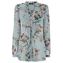 Buy Oasis Oriental Garden Bird Shirt, Light Blue Online at johnlewis.com