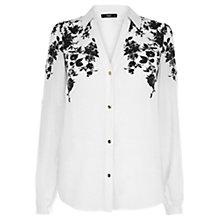 Buy Oasis Floral Placement Shirt, Black/White Online at johnlewis.com