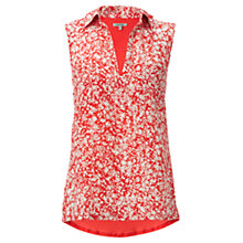 Buy Jigsaw Daisy Print Sleeveless Shirt, Coral Online at johnlewis.com