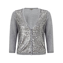 Buy Jigsaw Sequin Front Cardigan, Grey Online at johnlewis.com