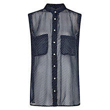 Buy Mango Sleeveless Polka Dot Blouse, Dark Blue Online at johnlewis.com