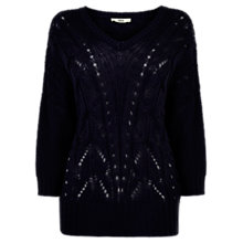 Buy Oasis Cable Batwing Jumper, Navy Online at johnlewis.com