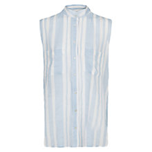 Buy Mango Striped Sleeveless Shirt, Natural White Online at johnlewis.com