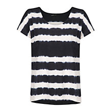 Buy Mango Tie-Dye Stripe T-Shirt, Dark Blue Online at johnlewis.com