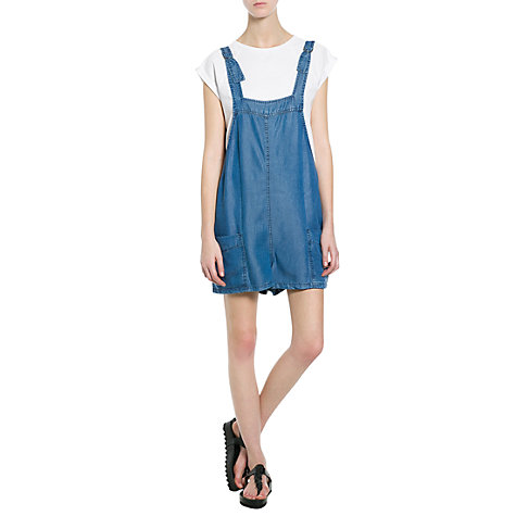Buy Mango Short Dungarees, Navy Online at johnlewis.com