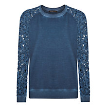 Buy Mango Crochet Sleeve Sweater, Medium Blue Online at johnlewis.com