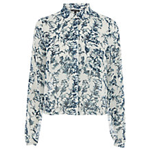 Buy Warehouse Bird Cage Cropped Shirt, Cream Online at johnlewis.com