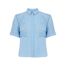 Buy Warehouse Lace Insert Cropped Shirt, Light Blue Online at johnlewis.com