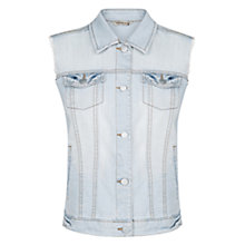 Buy Mango Bleached Denim Gilet, Pastel Blue Online at johnlewis.com