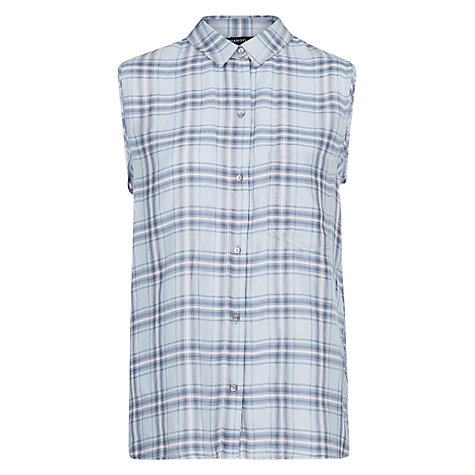 Buy Mango Checked Shirt, Light Pastel Blue Online at johnlewis.com
