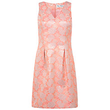 Buy Miss Selfridge V-Neck Lantern Jacquard Dress, Pink Online at johnlewis.com