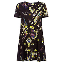 Buy Warehouse Cutabout Floral Print Swing Dress, Black Online at johnlewis.com
