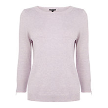 Buy Warehouse Zip Cuff Crew Neck Jumper, Lilac Online at johnlewis.com