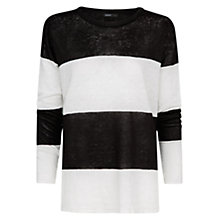 Buy Mango Linen Striped Jumper, Black Online at johnlewis.com