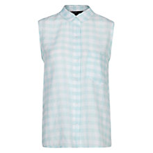 Buy Mango Check Sleeveless Shirt, Green Online at johnlewis.com