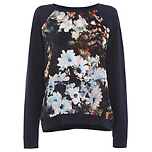 Buy Warehouse Smudge Floral Jumper, Navy Multi Online at johnlewis.com