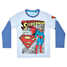 Buy Superman Layered Sleeve T-Shirt, Light Blue Online at johnlewis.com