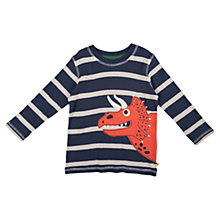 Buy Frugi Boys' Dinosaur Stripe Long Sleeve Top, Navy/Cream Online at johnlewis.com
