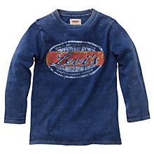 Buy Levi's Boys' Washed Logo Print T-Shirt, Indigo Online at johnlewis.com