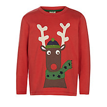 Buy Frugi Boys' Reindeer Applique Long Sleeve Top, Red Online at johnlewis.com