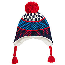 Buy John Lewis Knit Trapper Hat, Blue/Red Online at johnlewis.com