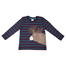 Buy Frugi Boys' Reindeer Stripe Long Sleeve Top, Teal/Prune Online at johnlewis.com