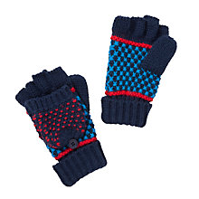 Buy John Lewis Knitted Flip Gloves, Blue/Red Online at johnlewis.com