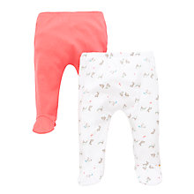 Buy John Lewis Baby Layette Pointelle Pyjama Bottoms, Pack of 2, Coral/White Online at johnlewis.com