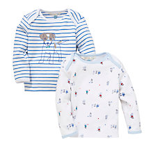 Buy John Lewis Baby Stripe/Dog Tops, Pack of 2, Blue/White Online at johnlewis.com