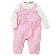 Buy John Lewis Baby Layette Marl Dungaree Set, Pink/White Online at johnlewis.com