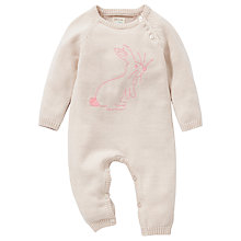 Buy John Lewis Baby Embroidered Rabbit Knit Romper, Oatmeal Online at johnlewis.com