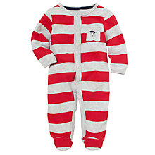 Buy John Lewis Baby Wide Stripe Sleepsuit, Red/Grey Online at johnlewis.com