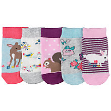 Buy John Lewis Floral Animal Socks, Pack of 5, Multi Online at johnlewis.com