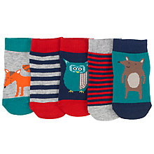 Buy John Lewis Woodland Cotton Socks, Pack of 5, Multi Online at johnlewis.com