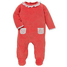 Buy John Lewis Baby Layette Velour Sleepsuit, Coral Online at johnlewis.com